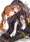 2girls :3 bangs black_gloves black_legwear black_ribbon blush breasts brown_hair eyebrows_visible_through_hair fingerless_gloves girls_frontline gloves grey_hair grey_skirt hair_between_eyes hair_ornament hair_ribbon hairclip highres hood hood_down hooded_jacket hug jacket long_hair looking_at_viewer multiple_girls nanakagura neck_ribbon one_side_up open_clothes open_jacket open_mouth pantyhose pleated_skirt red_eyes ribbon scar scar_across_eye scarf shirt sidelocks simple_background skirt smile twintails ump45_(girls_frontline) ump9_(girls_frontline) untucked_shirt white_background white_shirt yellow_eyes