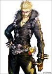 1boy arm_at_side belt biker_clothes black_border black_gloves black_jacket blonde_hair border breast_pocket chains charm_(object) cigarette collarbone commentary_request cowboy_shot double_vertical_stripe facing_viewer fate/grand_order fate_(series) fingerless_gloves fur_collar glint gloves hand_on_hip jacket jewelry kei-suwabe legs_apart long_hair long_sleeves male_focus mouth_hold necklace over-rim_eyewear parted_lips pink-tinted_eyewear pocket sakata_kintoki_(fate/grand_order) sakata_kintoki_rider_(fate/grand_order) semi-rimless_eyewear shoulder_spikes simple_background smile smoke smoking solo spikes spiky_hair stuffed_animal stuffed_toy sunglasses teddy_bear twitter_username v-shaped_eyebrows white_background yellow-framed_eyewear zipper zipper_pull_tab