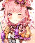1girl ;q alternate_hairstyle bang_dream! black_neckwear blush bow bowtie candy_hair_ornament cross-laced_clothes double_bun eyebrows_visible_through_hair food_themed_hair_ornament frilled_sleeves frills gloves hair_bow hair_ornament head_wings holding index_finger_raised jack-o'-lantern jack-o'-lantern_hair_ornament long_hair looking_at_viewer maruyama_aya one_eye_closed pink_eyes pink_hair polka_dot polka_dot_neckwear purple_gloves short_sleeves solo star striped striped_gloves taya_5323203 tongue tongue_out upper_body