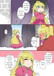 2girls blush blush_stickers bowsette crown curtains dress earrings engrish jewelry long_hair mario_(series) multiple_girls new_super_mario_bros._u_deluxe nintendo princess_peach ranguage sesield super_crown super_mario_bros. under_covers window