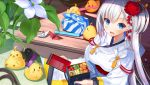 >_< 1girl :d animal atori azur_lane bangs bird blue_eyes blush breasts checkered cherry_tomato chick closed_eyes commentary_request eyebrows_visible_through_hair fingernails flower food hair_between_eyes hair_flower hair_ornament highres holding japanese_clothes kimono long_hair long_sleeves looking_at_viewer medium_breasts mole mole_under_eye obentou obi open_mouth origami paper_crane red_flower sash shoukaku_(azur_lane) silver_hair smile solo very_long_hair white_flower white_kimono wrapped_obentou