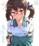 1girl aoi_sora_(pairan) artist_name bangs black_ribbon blush brown_eyes brown_hair clothes_writing collarbone commentary_request eyebrows_visible_through_hair glasses green_jacket grin hair_ornament hair_ribbon hairclip head_tilt highres jacket long_hair long_sleeves looking_at_viewer low_twintails off_shoulder original pairan parted_lips red-framed_eyewear reflective_eyes ribbon shirt short_sleeves sidelocks simple_background sleeves_past_wrists smile solo tareme teeth track_jacket twintails undressing upper_body white_background white_shirt wing_collar