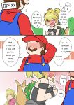 1boy 2girls bare_shoulders black_dress blonde_hair blue_earrings blue_eyes blurry blurry_background blush blush_stickers bowsette cabbie_hat comic confession dress engrish faceless hand_behind_head happy hat head_out_of_frame horns long_hair mario_(series) multiple_girls new_super_mario_bros._u_deluxe nintendo nose_blush overalls pink_dress ponytail princess_peach ranguage red_shirt sesield shirt short_hair strapless strapless_dress super_crown