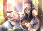1girl 2boys black_hair blue_hair closed_eyes cu_chulainn_(fate/grand_order) fate/grand_order fate_(series) fujimaru_ritsuka_(male) glasses hood lancer lap_pillow lavender_hair long_hair mash_kyrielight multiple_boys purple_hair short_hair sleeping