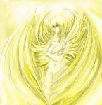1girl angel angel_wings asuka_lan blonde_hair blue_eyes breasts devilman devilman_lady feathered_wings feathers head_wings highres large_breasts long_hair medium_breasts multiple_wings nnabe satan_(devilman) solo wings