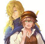 1boy 1girl blonde_hair brown_hair dress e_f_regan826 gloves green_eyes hat jewelry long_hair necklace octopath_traveler open_mouth short_hair simple_background smile tressa_(octopath_traveler)