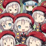 >_< ... 0_0 6+girls :> :< :d ;d ^_^ bangs bare_shoulders beret black_dress black_hat blue_eyes blue_jacket blunt_bangs blush_stickers capura_lin character_request chibi closed_eyes closed_eyes closed_mouth commentary_request dress eyebrows_visible_through_hair girls_frontline green_background green_eyes hair_ornament hair_strand hat hk416_(girls_frontline) jacket long_hair mp5_(girls_frontline) multiple_girls multiple_persona necktie notice_lines one_eye_closed open_mouth red_hat red_neckwear round_teeth short_necktie silver_hair sleeveless sleeveless_dress smile spoken_ellipsis teeth upper_teeth very_long_hair xd