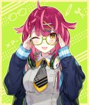 1girl adjusting_eyewear arms_up blue_jacket blue_nails blush braid breasts closed_mouth collared_shirt commentary_request glasses green-framed_eyewear green_nails grey_neckwear grey_shirt hair_flaps hair_ornament hairclip headphones headphones_around_neck jacket long_hair long_sleeves looking_at_viewer medium_breasts multicolored multicolored_nails nail_polish necktie one_eye_closed open_clothes open_jacket original purple_hair red_nails semi-rimless_eyewear shirako_miso shirt short_necktie sleeveless sleeveless_shirt sleeves_past_wrists solo tongue tongue_out under-rim_eyewear upper_body x_hair_ornament yellow_nails