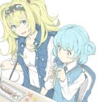2girls alternate_costume blonde_hair blue_eyes blue_hair blush_stickers breast_pocket breasts buttons chopsticks collared_shirt double_bun fish food gambier_bay_(kantai_collection) hair_between_eyes hair_ornament hairband hairclip holding holding_chopsticks kantai_collection large_breasts long_hair long_sleeves looking_at_another multiple_girls ninimo_nimo open_clothes open_mouth open_vest pocket puckered_lips samuel_b._roberts_(kantai_collection) shirt short_hair sitting smile twintails unbuttoned vest white_shirt