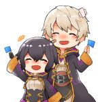 1boy 1girl bandaid bandaid_on_face belt black_gloves black_hair closed_eyes father_and_daughter fire_emblem fire_emblem:_kakusei fire_emblem_heroes flag gloves long_sleeves male_my_unit_(fire_emblem:_kakusei) mark_(female)_(fire_emblem) mark_(fire_emblem) my_unit_(fire_emblem:_kakusei) nintendo open_mouth robe short_hair shunrai simple_background white_background white_hair