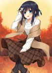 1girl :d arm_up autumn_leaves bangs black_hair black_legwear blue_eyes blush boots braid brown_footwear brown_skirt butterfly_hair_ornament commentary_request eyebrows_visible_through_hair grey_ribbon hair_between_eyes hair_ornament hair_ribbon highres knee_boots komori_kuzuyu leaf long_hair long_sleeves maple_leaf open_mouth original outdoors pantyhose plaid plaid_skirt ribbed_sweater ribbon rivier_(kuzuyu) shawl side_braid single_braid skirt sky smile solo standing sweater tree unmoving_pattern white_sweater yellow_sky