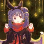1girl animal_ears bat_ears closed_mouth dragon_wings fake_animal_ears fire_emblem fire_emblem:_seima_no_kouseki fire_emblem_heroes halloween_costume long_hair long_sleeves lowres mamkute multi-tied_hair myrrh nintendo purple_hair red_eyes smile solo twintails twitter_username waka_ashakoniwa wings