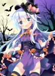 1girl alternate_costume asymmetrical_legwear bat black_cat blue_eyes cat commentary_request cowboy_shot dress dress_lift food hat hibiki_(kantai_collection) highres hizuki_yayoi jack-o'-lantern kantai_collection lifted_by_self long_hair open_mouth purple_dress silver_hair smile solo standing striped striped_legwear triangle_mouth wand witch_hat
