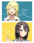 ... 2girls :d ^_^ bang_dream! bangs black_hair blonde_hair blue_background blue_eyes closed_eyes closed_eyes eyebrows_visible_through_hair hair_ornament hairclip hanasakigawa_school_uniform harusawa heart heart_hands heart_of_string long_hair medium_hair multiple_girls notice_lines okusawa_misaki open_mouth school_uniform serafuku smile snapping_fingers spoken_ellipsis sweatdrop tsurumaki_kokoro two-tone_background upper_body yellow_background