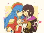 2girls ahoge black_hair blue_eyes blue_hair blush book dress fire_emblem fire_emblem:_fuuin_no_tsurugi fire_emblem:_kakusei fire_emblem_heroes gloves hat headband heart heart_hands hood jacket lilina long_hair looking_at_viewer mark_(female)_(fire_emblem) mark_(fire_emblem) multiple_girls nintendo open_mouth sasaki_(dkenpisss) short_hair simple_background smile