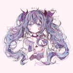 1girl belt blue_hair bow collar collarbone commentary diagram diamond_(shape) dress expressionless facial_mark hair_ribbon hatsune_miku highres holding holding_mask karakuri_pierrot_(vocaloid) long_hair looking_at_viewer mask mask_removed pocket_watch purple purple_collar purple_hair purple_ribbon ribbon twintails upper_body user_xkew2474 violet_eyes vocaloid watch