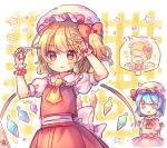 2girls afro alternate_hairstyle cutting_hair flandre_scarlet multiple_girls pjrmhm_coa plaid plaid_background remilia_scarlet scissors siblings sisters thought_bubble touhou wings x_x