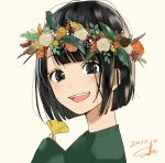 1girl 2018 :d absurdres acorn black_eyes black_hair bob_cut close-up dated eyelashes flower green_sweater happy head_wreath highres holding holding_flower leaf long_sleeves looking_at_viewer open_mouth orange_flower orange_rose original rose sako_(user_ndpz5754) short_hair signature simple_background smile solo sweater tagme teeth upper_body white_background white_flower white_rose yellow_flower