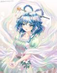 1girl backlighting blue_dress blue_eyes blue_hair blush collarbone dress flower hair_between_eyes hair_ornament hair_rings hair_stick holding holding_flower kaku_seiga leaf looking_at_viewer petals puffy_short_sleeves puffy_sleeves short_hair short_sleeves smile solo takatora touhou twitter_username veil