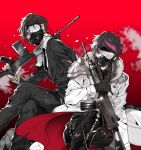 2boys assault_rifle battle_rifle black_gloves black_hair broken_glass broken_mask brown_hair closed_eyes coat f_(senjuushi) fal_(senjuushi) fn_fal fn_fnc formal futaba_hazuki gas_mask glass gloves gun holding holding_gun holding_weapon leather male_focus multicolored_hair multiple_boys necktie pants pinstripe_suit rifle senjuushi:_the_thousand_noble_musketeers shirt short_hair shoulder_armor sitting squatting streaked_hair striped suit torn_clothes torn_pants torn_shirt violet_eyes weapon