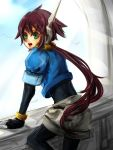 1girl aile bodysuit brown_hair gloves green_eyes long_hair looking_at_viewer ponytail rockman rockman_zx rockman_zx_advent shorts skin_tight solo spandex