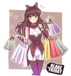 1girl bag black_friday black_hair blake_belladonna commentary_request english flying_sweatdrops hair_ribbon highres iesupa long_hair looking_at_viewer navel outstretched_wrists pantyhose parody price_tag pun ribbon rwby shopping shopping_bag solo thigh_gap ticket yellow_eyes