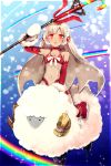 1girl absurdres altera_(fate) altera_the_santa bangs bare_shoulders blunt_bangs blush breasts bubble choker cleavage collarbone dark_skin detached_sleeves earmuffs fate/grand_order fate_(series) full_body_tattoo gloves headdress highres holding holding_weapon midriff mittens navel open_mouth photon_ray ponita rainbow red_eyes red_footwear revealing_clothes riding sheep short_hair small_breasts solo stomach tan tattoo veil weapon white_gloves white_hair