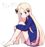 1girl abigail_williams_(fate/grand_order) alternate_costume bangs barefoot black_bow blonde_hair blue_jacket blush bow closed_mouth dated eyebrows_visible_through_hair fate/grand_order fate_(series) forehead full_body hair_bow jacket kujou_karasuma long_hair long_sleeves looking_at_viewer looking_to_the_side open_clothes open_jacket orange_bow parted_bangs pink_shorts short_shorts shorts signature simple_background sitting sketch solo very_long_hair white_background
