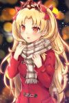 1girl bangs blonde_hair blurry blurry_background blush bow breasts brown_scarf coat commentary_request depth_of_field ereshkigal_(fate/grand_order) eyebrows_visible_through_hair fate/grand_order fate_(series) fingernails forehead fringe hair_bow highres long_hair long_sleeves open_mouth parted_bangs plaid plaid_scarf red_bow red_coat red_eyes round_teeth samoore scarf small_breasts solo teeth tiara tohsaka_rin two_side_up upper_body upper_teeth very_long_hair
