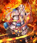 1girl :o angry armor arrow bow bow_(weapon) breasts detached_sleeves fate/grand_order fate_(series) fire hair_bow highres japanese_armor kote kusazuri large_breasts long_hair looking_at_viewer mitsudomoe_(shape) ohako_(ohako1818) oni_horns red_bow red_eyes sandals sideboob silver_hair slit_pupils solo tabi tomoe_(symbol) tomoe_gozen_(fate/grand_order) very_long_hair weapon