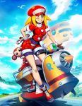 1girl animal belt bent_over bike_shorts bike_shorts_under_shorts blonde_hair breasts brown_gloves buttons cabbie_hat capcom clouds covered_navel data_(rockman_dash) full_body genzoman gloves green_eyes ground_vehicle hand_on_hip hat holding holding_wrench impossible_clothes monkey motor_vehicle one_eye_closed red_footwear red_shorts rockman rockman_dash roll_caskett scooter shoes short_shorts short_sleeves shorts sky smile solo teeth tools undershirt wrench