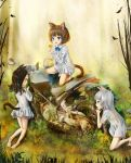 3girls animal_ears ass barefoot black_hair blue_eyes brown_hair cat_ears cat_tail child commentary_request dirty_feet dress fang feet gineko_(hobbyist777) green_eyes ground_vehicle highres kneepits legs long_hair motor_vehicle motorcycle multiple_girls open_mouth original outdoors overgrown panties red_eyes short_dress short_hair silver_hair soles tail toes underwear white_dress white_panties
