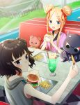 2girls abigail_williams_(fate/grand_order) alternate_costume animal bare_arms bare_shoulders blonde_hair blue_eyes blush bow brown_hair checkered checkered_floor cherry closed_mouth collarbone collared_shirt commentary_request cup day double_bun drinking_glass drinking_straw eating fast_food fate/grand_order fate_(series) feeding food french_fries fruit grey_hoodie hair_bow hamburger highres holding holding_food hood hood_down hoodie ice ice_cream ice_cream_float ice_cube indoors katsushika_hokusai_(fate/grand_order) long_hair looking_at_another multiple_girls octopus open_mouth pink_shirt puffy_short_sleeves puffy_sleeves red_bow saki_usagi seat shirt short_sleeves side_bun sidelocks signature sitting sleeveless sleeveless_hoodie stuffed_animal stuffed_toy table teddy_bear tokitarou_(fate/grand_order) tray window