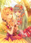 2girls absurdres alternate_hairstyle aqua_dress bang_dream! bangs blonde_hair blue_hair blue_ribbon bow braid bush center_frills day dress esol_98 eyebrows_visible_through_hair floral_print flower food food_themed_hair_ornament frilled_gloves frills fruit gloves grape_hair_ornament grapes hair_flower hair_ornament hair_over_shoulder hair_ribbon hairband hand_holding highres long_hair matsubara_kanon multiple_girls open_mouth outdoors pink_ribbon print_dress purple_bow red_bow red_eyes ribbon rose shirasagi_chisato single_braid smile strawberry strawberry_hair_ornament striped striped_ribbon tan_gloves tree twin_braids upper_body violet_eyes white_gloves wrist_flower yellow_dress yellow_flower yellow_rose
