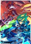 2boys android armor artist_name azure_striker_gunvolt azure_striker_gunvolt_2 blonde_hair blue_eyes boots braid commentary electricity energy_blade energy_sword english_commentary full_body gloves green_eyes gun gunvolt helmet holding holding_gun holding_sword holding_weapon long_coat long_hair male_focus multicolored_hair multiple_boys navel neon_trim parted_lips pointing purple_hair robot rockman rockman_zero sword tomycase two-tone_hair very_long_hair violet_eyes weapon zero_(rockman)