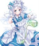 1girl alternate_costume animal_ears apron bare_arms bell blue_eyes cat_ears dress enmaided food fruit gloves highres holding jingle_bell juice kinty lime_(fruit) maid maid_headdress original pitcher pouring ribbon simple_background solo white_background white_hair