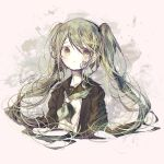1girl abstract_background bandage bandage_on_face bangs black_jacket commentary eyebrows_visible_through_hair eyes_visible_through_hair green green_eyes green_hair green_ribbon hair_over_eyes hatsune_miku highres jacket long_hair long_neck long_sleeves looking_away ribbon rolling_girl_(vocaloid) school_uniform serafuku shirt twintails uniform upper_body user_xkew2474 vocaloid white_shirt