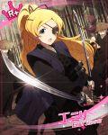blonde_hair blush emily_stuart eyepatch idolmaster idolmaster_million_live! idolmaster_million_live!_theater_days kimono long_hair smile sword violet_eyes warrior