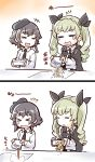 >_< 2girls 2koma :d =_= anchovy anzio_school_uniform beret black_hair braid cape closed_eyes comic crying food girls_und_panzer green_hair hat highres ishiyumi long_hair long_sleeves multiple_girls necktie noodles open_mouth pepperoni_(girls_und_panzer) smile twintails yakisoba_spill