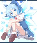 1girl absurdres ahoge bangs blue_bow blue_eyes blue_hair bow bowtie brown_footwear cirno commentary_request do_(4-rt) eyebrows_visible_through_hair eyes_visible_through_hair full_body hair_bow head_tilt highres ice ice_wings large_bow looking_away puffy_short_sleeves puffy_sleeves red_neckwear shoes short_hair short_sleeves simple_background sitting solo touhou wings