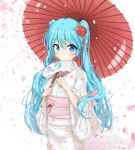 1girl absurdres blue_eyes blue_hair blush bow breasts commentary cowboy_shot falling_petals fan flower flower_ornament hair_flower hair_ornament hatsune_miku highres holding holding_fan holding_object holding_umbrella japanese_clothes kimono long_hair long_sleeves looking_at_viewer mikoo_o39 oriental_umbrella paper_fan pink_petals print_kimono red_umbrella shadow small_breasts smile twintails umbrella very_long_hair vocaloid white_background white_kimono yukata