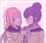 2girls =_= adachi_fumio blue_hair blush closed_mouth collarbone eyebrows_visible_through_hair frown hair_between_eyes hair_bun kagamihara_nadeshiko long_hair long_sleeves looking_at_another low_twintails multiple_girls neckerchief pink_background pink_hair profile scarf school_uniform serafuku shima_rin smile sweater twintails upper_body yurucamp