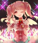 1girl angel_wings bang_dream! bare_shoulders blush bow character_request choker collarbone copyright_request dress eyebrows_visible_through_hair hair_bow holding holding_microphone looking_at_viewer maruyama_aya medium_hair microphone one_eye_closed open_mouth pompitz red_bow red_ribbon ribbon smile solo twintails upper_body v white_bow wings