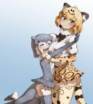 2girls animal_ear_fluff animal_ears bare_shoulders blonde_hair blush bow bowtie center_frills closed_eyes commentary_request cowboy_shot elbow_gloves eyebrows_visible_through_hair face_to_breasts frilled_swimsuit frills fur_collar gloves grey_hair height_difference high-waist_skirt highres hug jaguar_(kemono_friends) jaguar_ears jaguar_print jaguar_tail kemono_friends multicolored_hair multiple_girls one-piece_swimsuit open_mouth otter_ears otter_tail r-one short_hair short_sleeves skirt small-clawed_otter_(kemono_friends) smile swimsuit tail thigh-highs white_hair yellow_eyes zettai_ryouiki