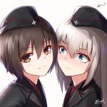 2girls bee_doushi black_hat black_jacket blush brown_eyes brown_hair eyebrows_visible_through_hair girls_und_panzer hair_between_eyes hat highres itsumi_erika jacket kuromorimine_military_uniform long_hair looking_at_viewer military military_hat military_uniform multiple_girls nishizumi_maho portrait red_shirt shirt short_hair signature silver_hair simple_background sweatdrop uniform white_background