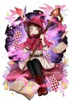 1girl ;d asymmetrical_gloves bird black_legwear blush boku_no_hero_academia book boots brown_eyes brown_hair capelet dress feathers gloves hat highres holding holding_staff looking_at_viewer magic one_eye_closed open_book open_mouth pantyhose red_capelet red_footwear red_gloves red_hat short_dress short_hair simple_background single_glove sitting smile solo staff uraraka_ochako white_background white_dress witch_hat