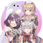 3girls ahoge animal_ears artist_request bat_wings bell bell_choker character_request choker closed_eyes commentary_request copyright_request cosplay eyepatch fake_animal_ears fang frankenstein's_monster frankenstein's_monster_(cosplay) ghost ghost_costume halloween halloween_costume highres multiple_girls stitches strapless surprised sweatdrop wings wolf_ears wolf_paws