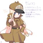1girl abigail_williams_(fate/grand_order) alternate_costume alternate_headwear blonde_hair blue_eyes blush brown_capelet brown_coat brown_hat brown_pants cabbie_hat capelet closed_mouth coat dated detective fate/grand_order fate_(series) hand_on_hip hat holding holding_magnifying_glass kujou_karasuma long_hair long_sleeves looking_at_viewer magnifying_glass outstretched_arm pants pointing pointing_at_viewer signature simple_background sketch solo translation_request very_long_hair white_background