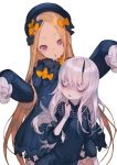 2girls abigail_williams_(fate/grand_order) bags_under_eyes bangs black_bow black_dress black_hat blonde_hair bloomers blue_eyes blush bow bug bukurote butterfly commentary_request dress fate/grand_order fate_(series) forehead hair_bow hands_up hat head_tilt horn insect lavinia_whateley_(fate/grand_order) long_hair long_sleeves looking_at_viewer multiple_girls orange_bow parted_bangs parted_lips polka_dot polka_dot_bow silver_hair sleeves_past_fingers sleeves_past_wrists underwear very_long_hair violet_eyes white_bloomers wide-eyed