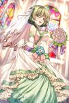 1girl :d bare_shoulders blue_eyes blush bouquet breasts church dress elbow_gloves flower gloves green_eyes hetero highres idolmaster idolmaster_cinderella_girls looking_at_viewer mole mole_under_eye open_mouth see-through shirokuma_a short_hair smile solo takagaki_kaede veil wedding_dress white_gloves